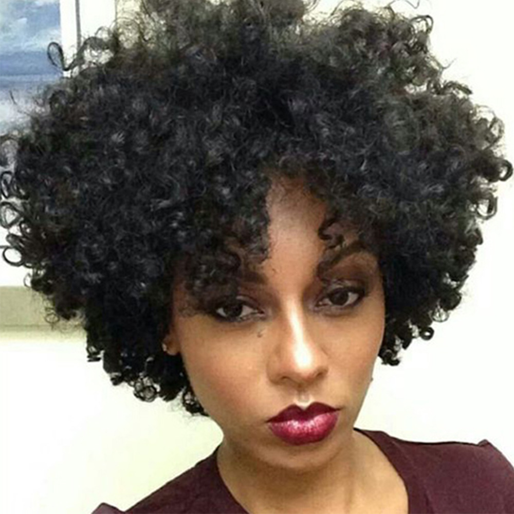 heat resistant cheap curly Wigs With Bangs 10 Inch Short Afro Kinky Curly Synthetic Wig In Stock