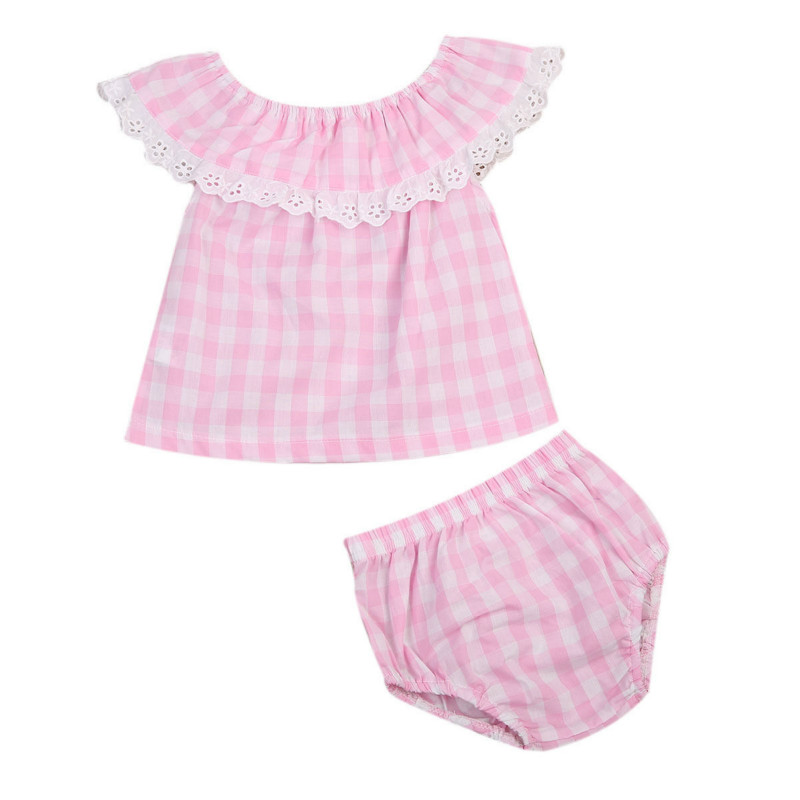0-3Y Newborn Infant Baby Girls Cotton Plaid Sleeveless Blouse Tops Ruffles Lace Romper Short Pants Kids Toddler Outfits 2Pcs Set