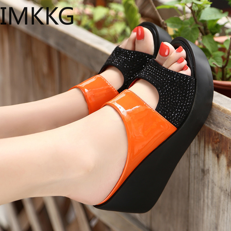 IMKKG 2019 Summer Fish Mouth Sandals Thick Bottom Wedges