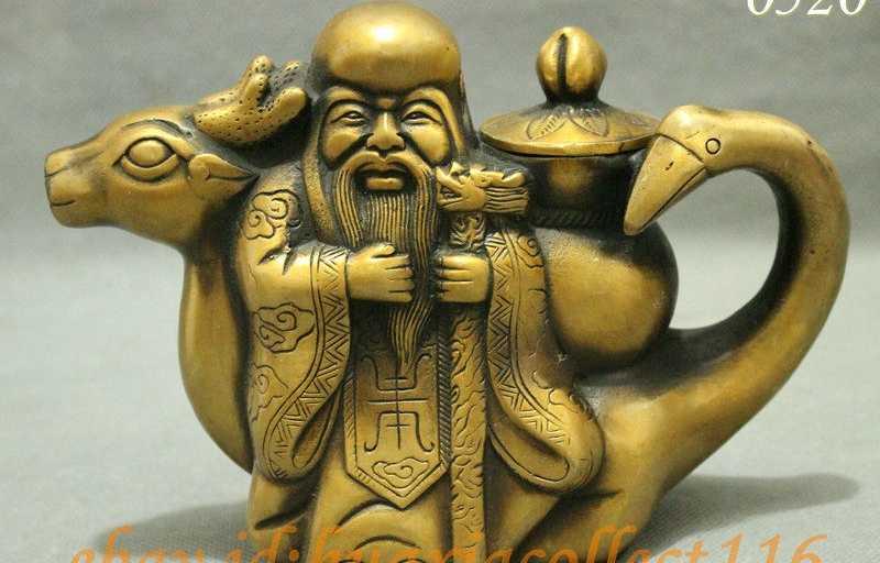 Cina Bronze Kumpulkan Rusa Angsa Shou Longevity Bintang Dewa Patung Anggur Pot Teko