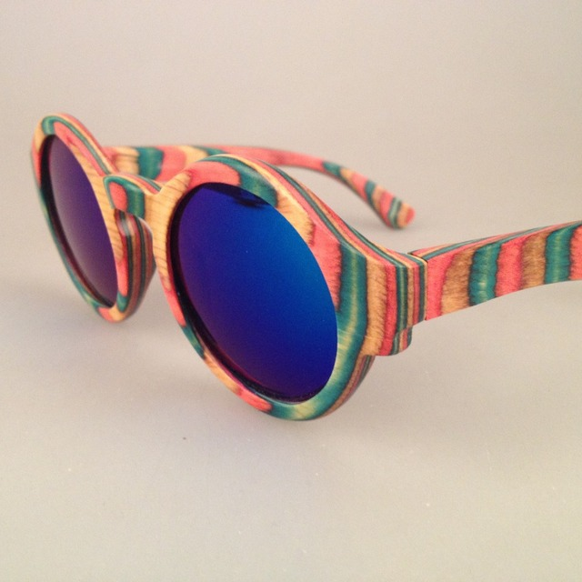 Bv5032 frete grátis de 100% de madeira natural com gelo azul lente polarizada óculos de sol guarda sol