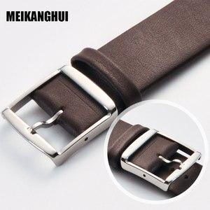 Ремешок для часов MEIHANGHUI, кожаный черный, темно-коричневый ремешок для часов 16 мм 18 мм 20 мм 22 мм 24 мм, сменный ремешок, полированный контакт с пряжкой