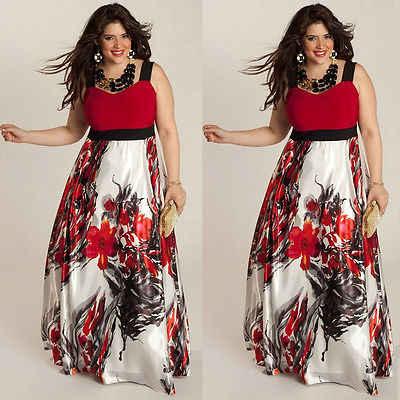 Nowa gorąca sprzedaż Plus rozmiar kwiatowy kobiety lato boho maxi długa sukienka czerwony/zielony bez rękawów impreza na plaży wieczór Sundress