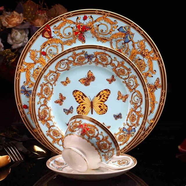 Butterfly Manor Bone china dinner plates tableware set ceramic dishes Coffee mug set Service plate Dessert & Butterfly Manor Bone china dinner plates tableware set ceramic ...