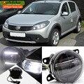 EeMrke Стайлинга Автомобилей Сид DRL Для Dacia Sandero 2008-до 2 в 1 LED Противотуманные Фары Лампы С Q5 Объектив Дневные Ходовые Огни