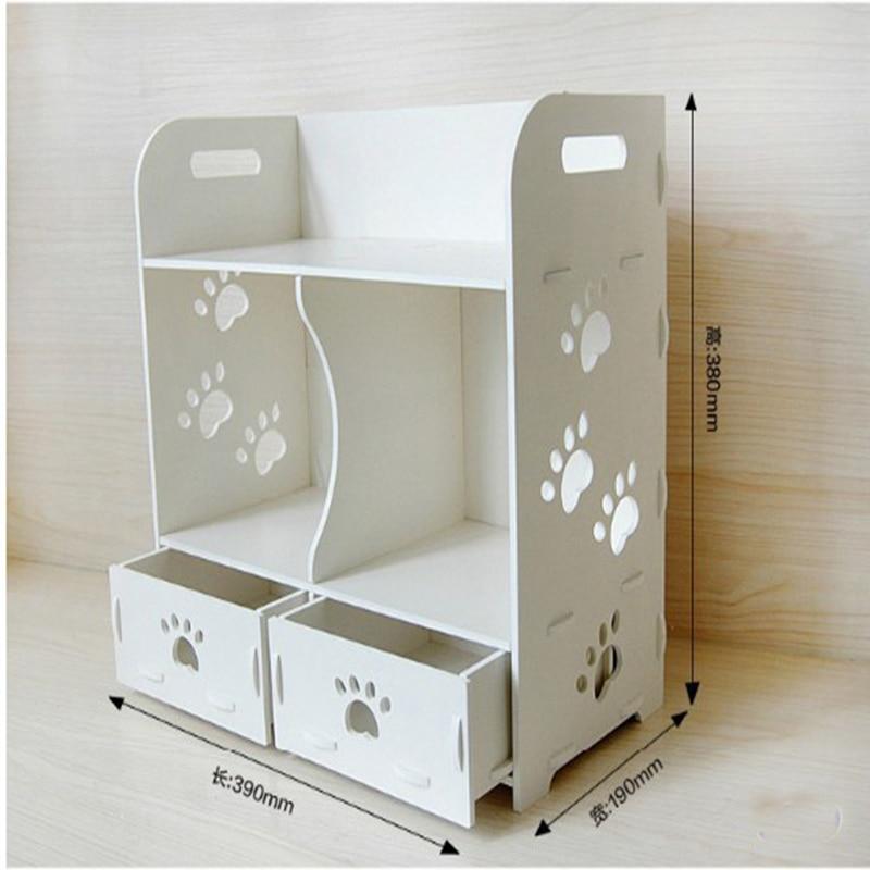 white pvc wood makeup storage box water proof desktop bathroom drawer organizer cabinet pvc storage jewelry