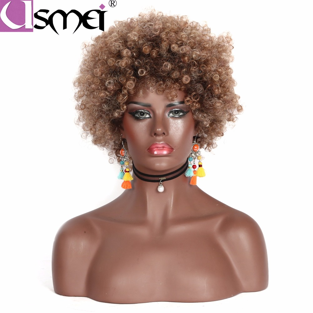 USMEI Kinky Curly Wig Black 613/99j For Women Short Afro African American Blonde Synthetic Wig Hair 10 Colors High Temperature
