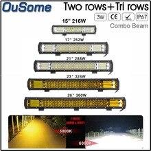 7D 216W 252W 288W 324W 360W LED עבודה אור בר טרקטור Boat OffRoad 4WD 4x4 משאית 12v בר אור עבודה אמבר לבן