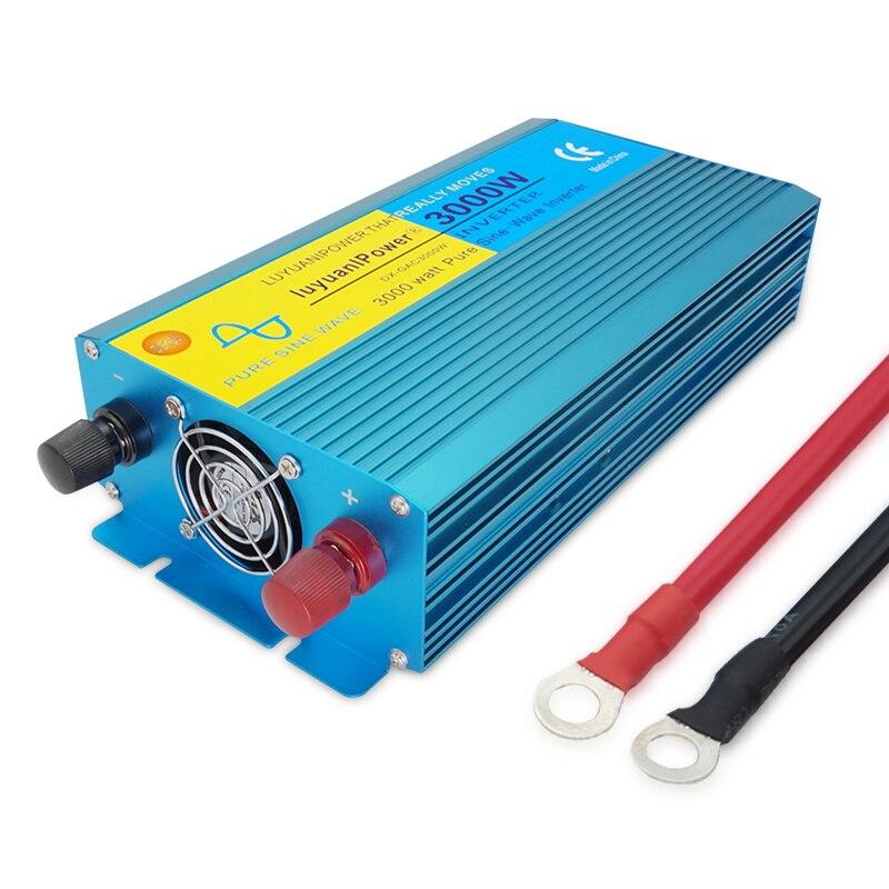 HTB1uCFnXlWD3KVjSZKPq6yp7FXas - DC 12V/24V To AC110V/220V 3000W Pure sine wave inverter off grid Converter Voltage Transformer With LCD Display 2 AC OUT