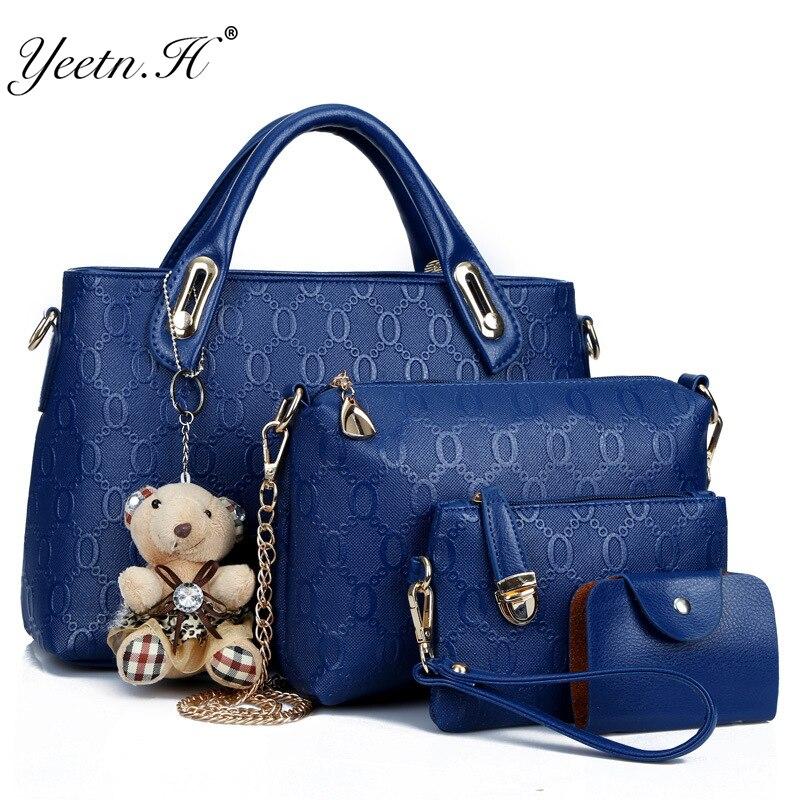¡Yeetn! H mujeres 4 Set bolsos de mano de cuero Pu de diseñador de moda bolso de hombro negro Vintage mujer bolso de mensajero saco A principal m129