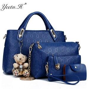 Image 1 - Yeetn.H Women 4 Set Handbags Pu Leather Fashion Designer Handbag Shoulder Bag Black Vintage Female Messenger Bag Sac A Main M129