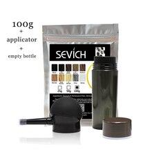 Sevich 100 г волосы строительные волокна пополнения мешок + 25 пустая бутылка аппликатор загуститель для Волос Фуллер выпадение волос лечение 10 цветов