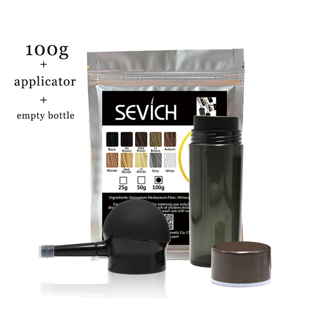 sevich 100g hair building fibers refill bag+ 25g empty bottle + applicator hair thickener fuller hair loss treatment 10 colours