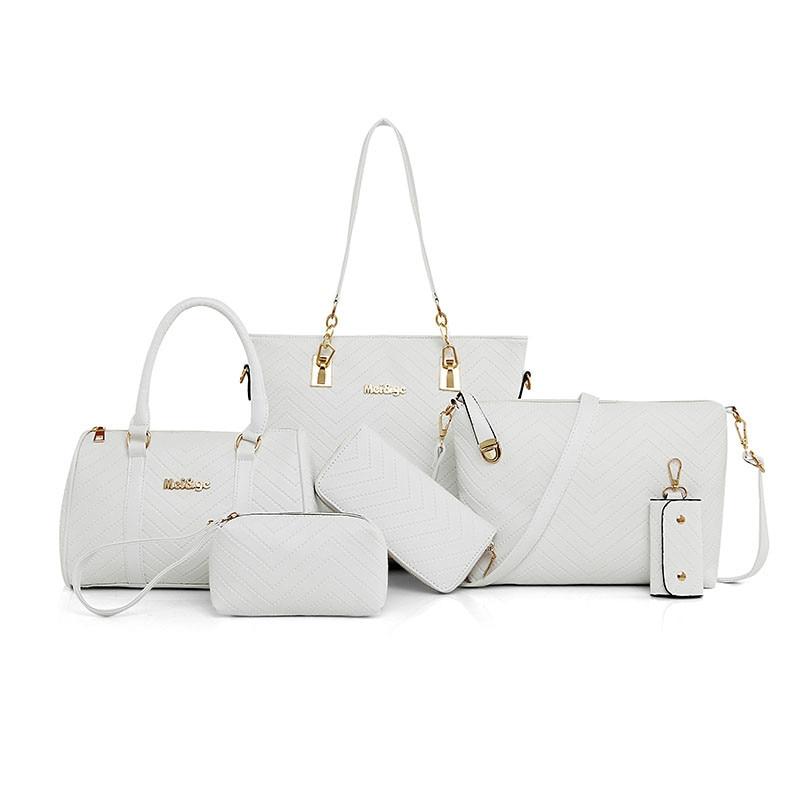купить 2018 new NEW Brand Luxury Lady Handbag 6 Pcs/set Composite Bags Set Women Shoulder Crossbody Bag Female Purse Clutch Wallet онлайн