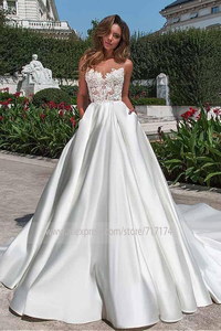 Image 3 - Scoop Sheer Neckline Lace Applique ซาติน A Line ชุดแต่งงานกับ Backless Chapel Train สวนชุดเจ้าสาว vestido de novia