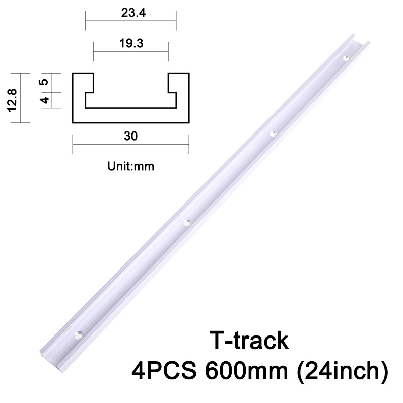 4PCS T-track 600mm (24inch) Standard Aluminium Miter Track/Slot for Table Saw, Router, Drill Press Jigs Carpenter ools JF1285