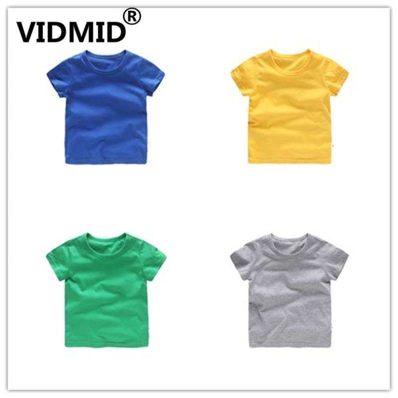 VIDMID Kids T-shirt Tops Baby Boy Cotton Short Sleeve Tops girls Children Cartoon basic color clothes boys girls tees 4018 29 2