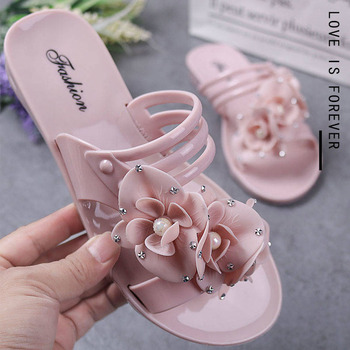 New flowers beach shoes ladies flat bottom home indoor and outdoor bathroom sandals and slippers 4