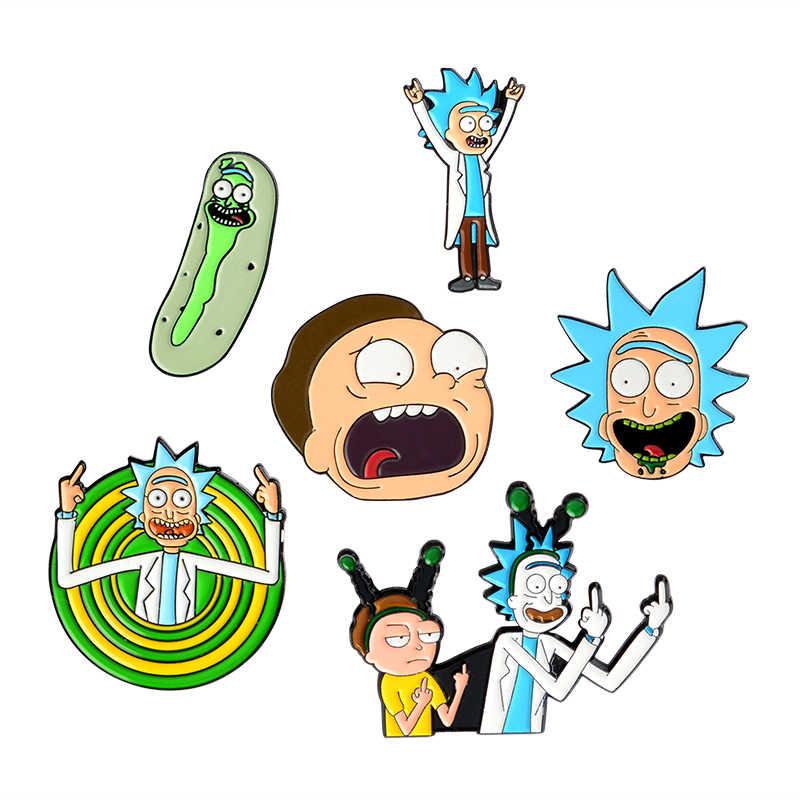 Эмалированные булавки с героями мультфильмов для женщин и мужчин, эмалированная булавка, ТВ-шоу, средний рюкзак с изображением пальцев, пальто, брюки, броши, значки, эмалированные булавки