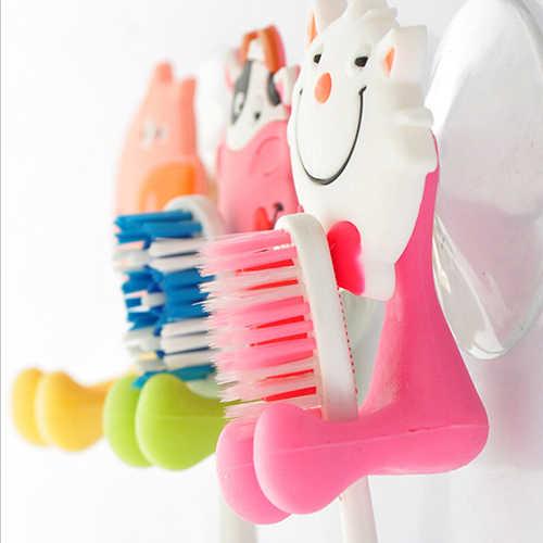 1Pc 8cm * 5cm Cute Animal silikonowy pojemnik na szczoteczkę do zębów łazienka Wieszak ścienny Sucker Hook stojak ścienny hak wieszaki łazienka produkty