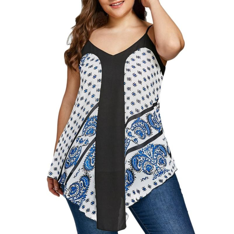 Large Cloth Womens Casual Plus Size 3XL 4XL 5XL Paisley Dot Printed Tank Tops Blouse Strapless Roupa Feminina