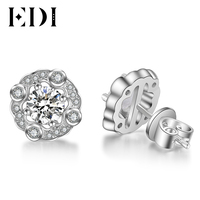 EDI Women Luxury Forever Brilliant 0.5CT Round Cut Diamond Stud Earrings For 14K 585 White Gold Wedding Fine Jewelry Gifts