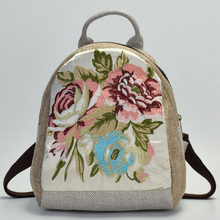 цена на 2018 Top Quality Women Canvas Backpack Chinese Ethnic Floral Embroidered Bookbag Female Shoulder Bag Daily Travel Backpacks
