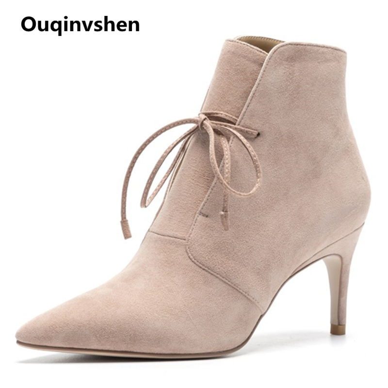Ouqinvshen Black Kid Suede Lace Up Boots Fashion Sexy Party Autumn Winter Casual High Heels Boots Pointed Toe Ankle Boots Women ouqinvshen pointed toe thin heels women boots ladies super high heels ankle boots casual fashion butterfly knot women s boots