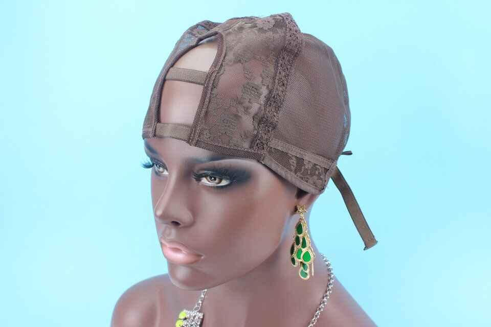 Regulowany pasek z tyłu U część czepek na perukę rozmiar L/M/S U część peruka Cap, brązowy w kształcie litery U części centrum części wysokiej jakości czapki