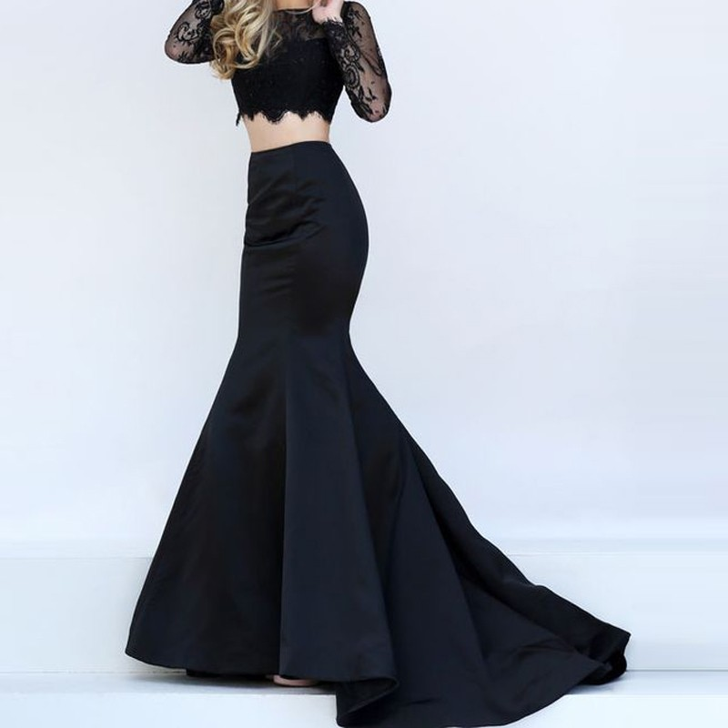 Fashion Mermaid Long Skirt Jupe Femme 2017 Faldas Women Skirts With Train Custom Made Saias