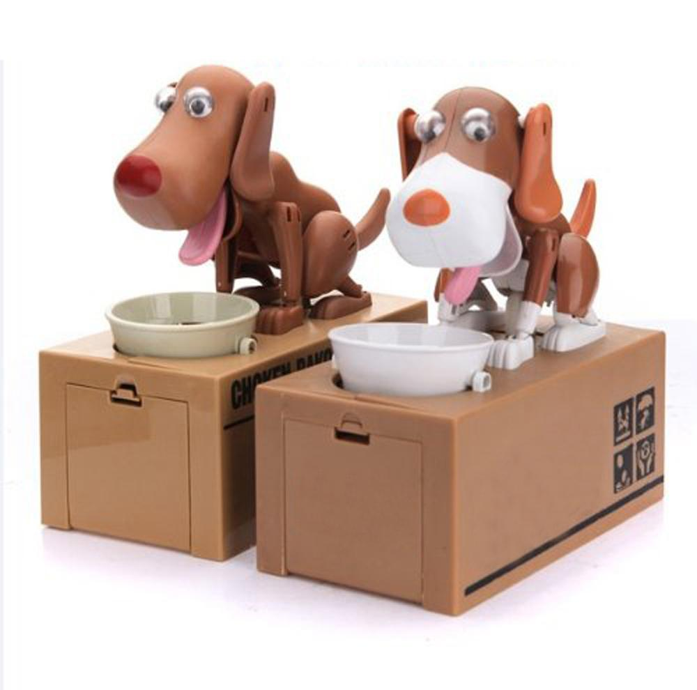 Robotic Dog Puppy Hungry Hound Bank Coin Eating Save Money Box