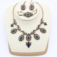 Lüks Türkiye Çiçek Takı Setleri Kadın Kanca Küpe Reçine Kolye Kristal Bilezik Antik Altın Renk Gelin Düğün Bijoux