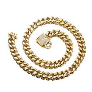 """Image 4 - 12 32"""" Fashion Stainless Steel Silver Color/Gold Cuban Curb Link Training Choke Chain Pet Dog Collar With Crystal Lock Clasp"""