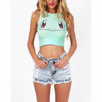 new 2017 summer woman Camisole Print 3D Pokemon Squirtle Pikachu style women Tank Top Bustier fashion Crop Top