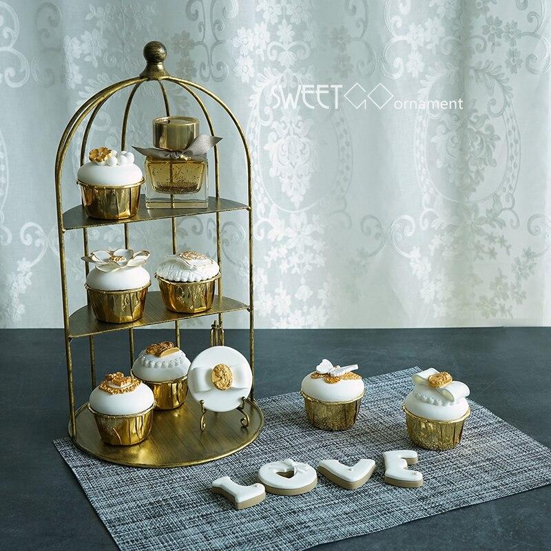 Demi-cadre en fer forgé cage à oiseaux décoration cage à oiseaux accessoires de décoration mariage gâteau stand dessert table rétro doré buffet