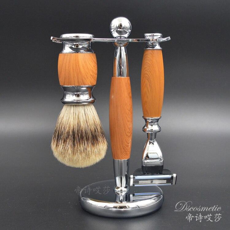 ФОТО 3 in1 Men's Shaving Set Badger Hair Shaving Brush + Razor + Razor Stand Shaving Holder Male Salon Barber Facial Cleaning Tool