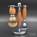 3 in1 Men's Shaving Set Badger Hair Shaving Brush + Razor + Razor Stand Shaving Holder Male Salon Barber Facial Cleaning Tool