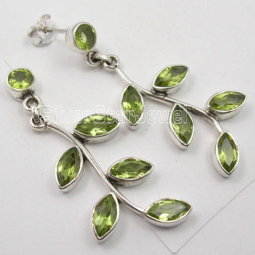 Silver Natural PERIDOT TREE LEAVES EXTRA ORDINARY Earrings 4 6 CM