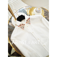 Svoryxiu взлетно посадочной полосы обычай хлопок белая блузка рубашки для мальчиков Женская высокого класса Цвет Кристалл алмазы воротни