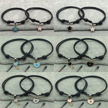 2 PCs/lot New Couple Bracelet Set Metal Alloy Key Heart Lock Star Geometry Rope Bracelet chain Handmade women men Jewelry Gifts alloy metal star charm chain bracelet