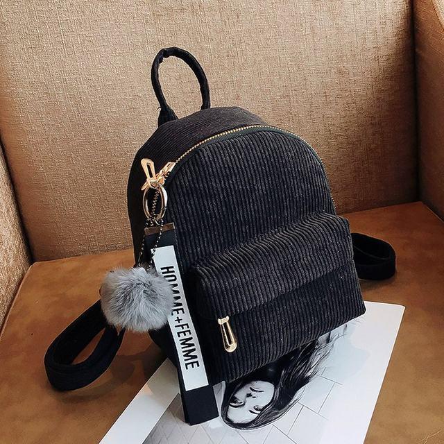 Cute velvet Backpack For Teenagers Children Mini Back Pack Kawaii Girls Kids Small Backpacks female Packbags Fur ball school bag (21)