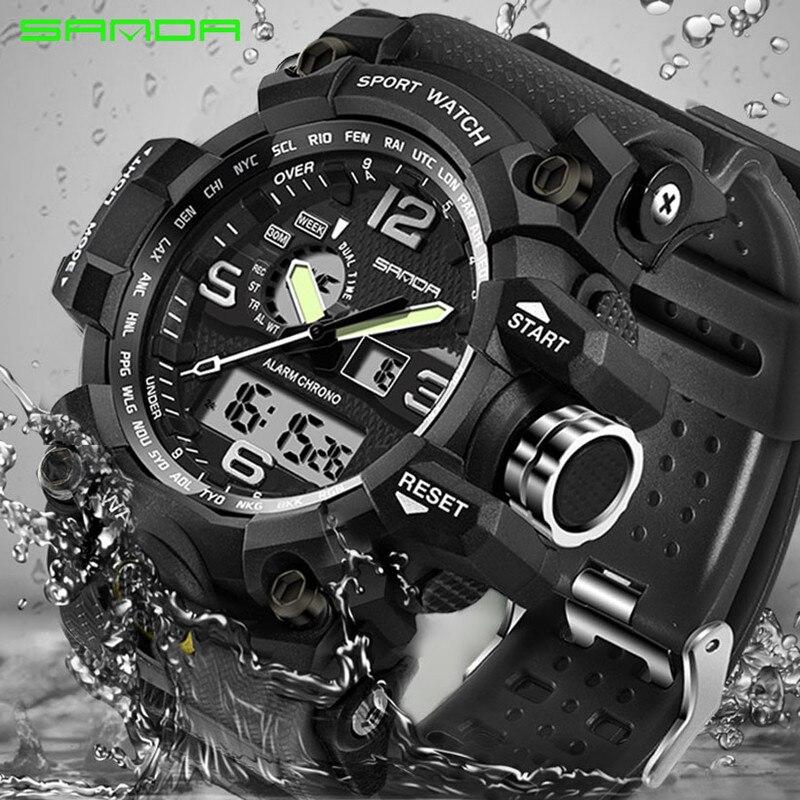 SANDA top luxury brand G style men's military sports watch LED digital watch waterproof men's watch Relogio Masculino 2