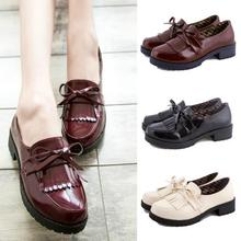 2016 Spring New Women Japan/Japanese School Student Uniform Shoes Uwabaki JK Round Toe Oxforda Anime Cosplay Flat Shoes