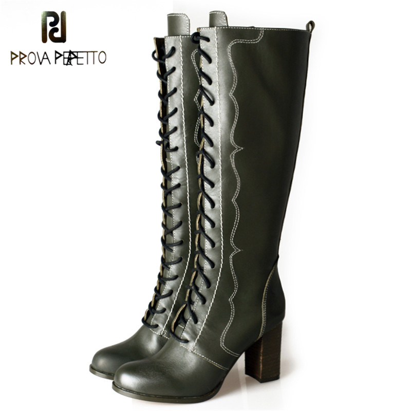 Prova Perfetto British Style Fashion Genuine Leather Patchwork Woman Knee High Boots Elegant Lace Up Chunky High Heel Boots prova perfetto british style elegant sheep genuine leather ankle buckle hollow out flower boots back strap chunky high heel boot