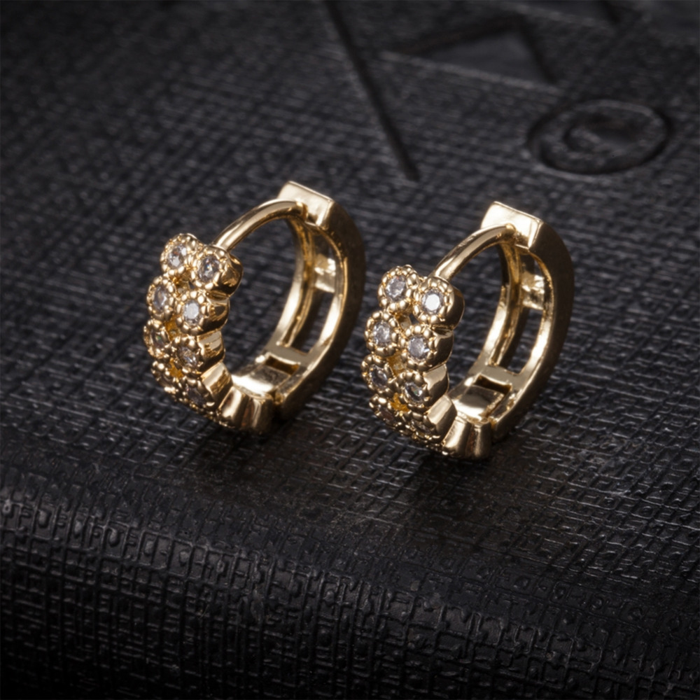 1 Pair Gold-color Stainless Steel Wedding Earrings Women Double Rows Zircon Earrings For Woman Brincos Titanium Steel Jewelry