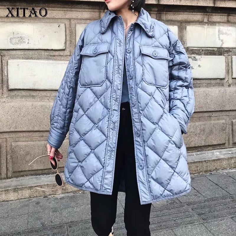Poitrine Couleur Femmes down Turn Europe Blue Unique Collar Mode Solide Pleine Lyh1191 2018 xitao Hiver Le Manches Bas Femme Manteau Vers xwOpZqSn