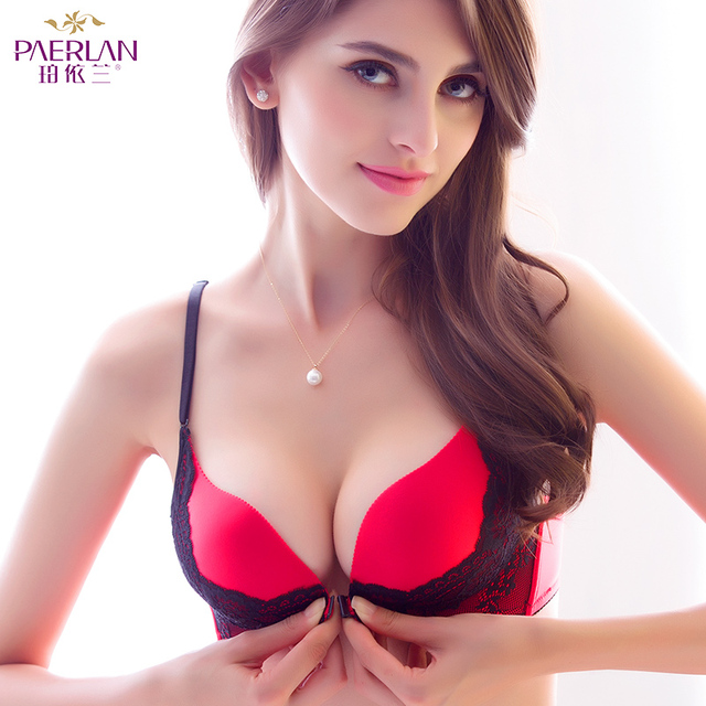 PAERLAN Wireless front button female bra sexy lace color block a piece  glossy seamless push up Wire Free underwear Women b9f4b1d543