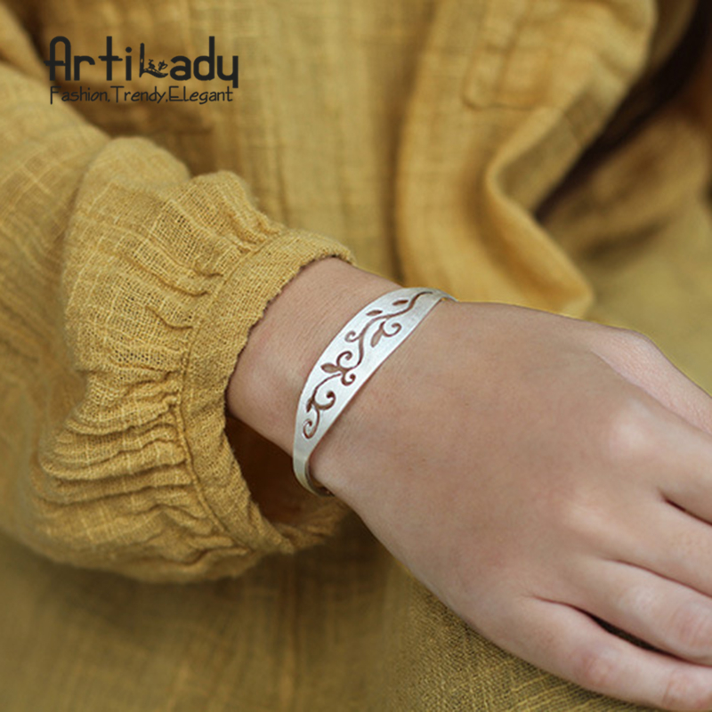Artilady original handmade 925 sterling silver bracelets bangles luxury hollow out bracelets for party gift women jewelry 1 pcs women lucky red string bracelets men jewelry 100% handmade bangles boho style girls gift