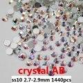 Glitter Rhinestones de Cristal Para Uñas Arte 150 gross/15 g/lote ss10 2.7-2.9mm Blanco Crystal AB No Hotfix Flatback Piedras Strass Bricolaje