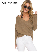 Ailunsnika 6 Colors Deep V Neck Sexy Sweater Women Loose Batwing Sleeve Knitted Pullovers Femme Elegant